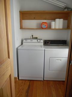 Washer And Dryer complete with laundry detergent.