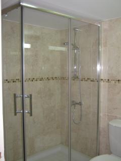 large walk in shower.