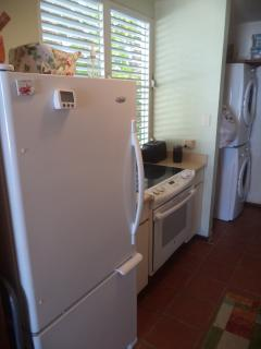 Kitchen view with Duet Washer and Dryer.