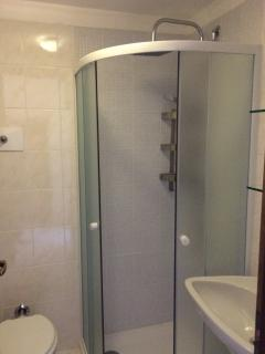 Newly, completely renovated bathroom with large confortable shower