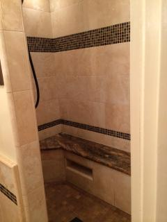 Large walk in shower with rain head.