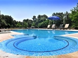 Large infinity pool with specially designed children's play area
