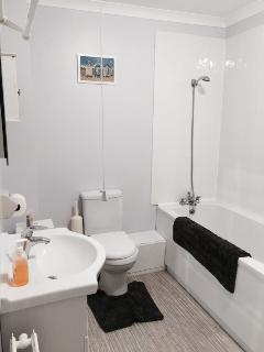 Bathroom with separate shower and washer/dryer