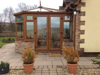 Conservatory with stunning views of Brecon beacons