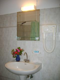 Fully tiled private bathroom with hairdryer