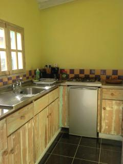 Fully equipped kitchen with gas hob and mini oven