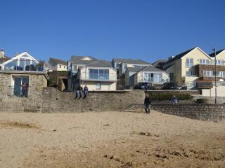 view of the cottages from the beach