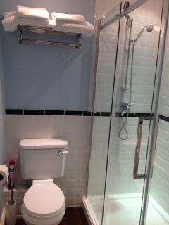 Large walk-in shower and great water pressure.