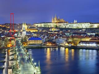 Charles Bridge and Prague Castle view, Praga