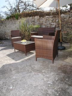 One of the seating areas in the garden