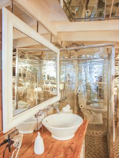 Open concept bathroom.