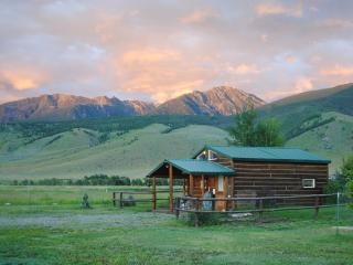 Elegant rustic cabin w/loft bdrm near Chico Hot Springs, Yellowstone Pk, fishing