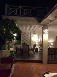 Dining areas on patio.. evening