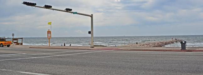 Rock groin is one of few paved for easy walk out into the gulf. There is also a life guard station.