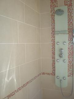 separate shower cubicle with multi head shower