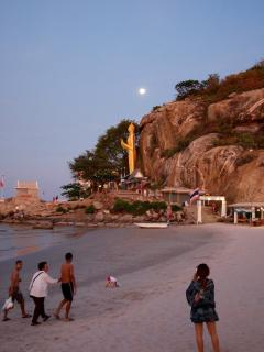 Khao Takieb Beach at dusk as seen from Supattra seafood restaurant just 13 minutes' drive away