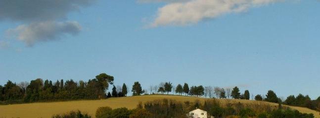Eccola lì,la nostra casa, in cima alla collina del Boncio, nella zona contigua del Parco S. Bartolo.
