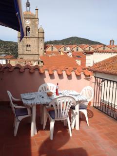 Roof Terrace and church clocktower
