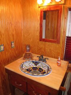 Talavera sink in bathroom