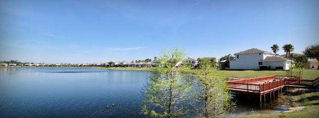Main lake at Sunset Lakes looking towards our Sunset Vista Lakeside Villa