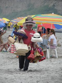 Local wares for sale on the beach at Canoa.