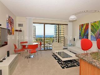 Ocean and sunset views from this modern, high floor 1-bedroom condo!, Honolulu