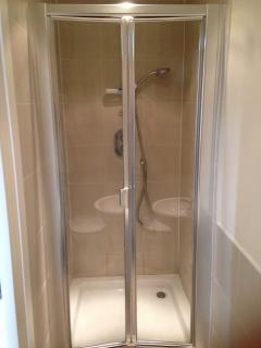 The ensuite shower cubicle is spacious and modern.