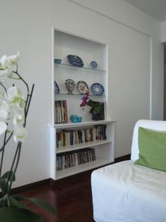A pleasant living room with cable TV, books, sound-dock, ipad...