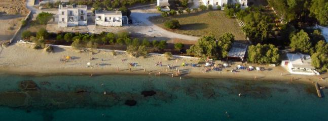 Aerial view - 15 studios & family apartments in 3 buildings, directly on Krios beach.