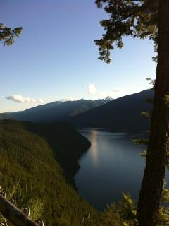View of Slocan Lake from Silverton lookout, 5 min. drive from Mountain Cottage Getaway