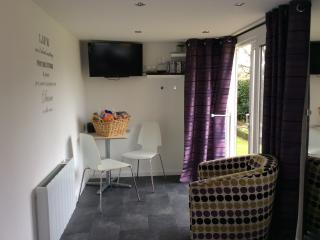 Lounge area with TV and DVD player, there is a selection of DVDs