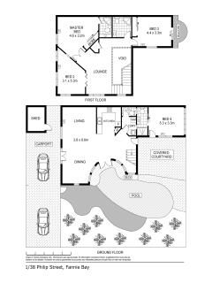 Floor plan for the Fannie Bay Art House