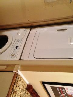 New Maytag washer/dryer inside the apartment