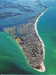 7 blocks away from Pine Avenue, right in the heart of Anna Maria City, and right next to the marina.