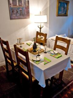 There is ample crockery and glassware in the cottage for four to dine in style.
