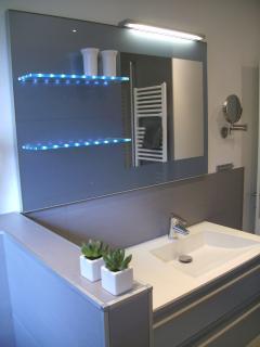 Badezimmer mit LED beleuchtetem großen Waschtisch´, Badewanne, Raindance-Dusche, getrenntes WC, Fön