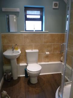 Newly refurbished bathroom with walk-in shower ...