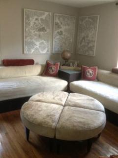 Guest bedroom sleeps two on super comfortable upholstered twin size beds