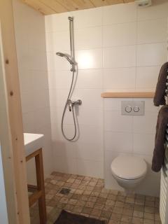 La petite salle de bain très chaleureuse et pratique