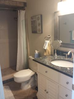 Walk in shower and granite counter top in bathroom