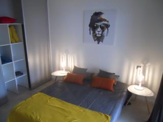 Chambre 12 m2 avec grand placard de rangement et T.V