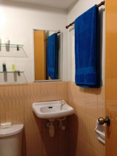 Bathroom provided w/ clean towels & basic toiletries: Body Soap, Shampoo & Conditioner, toothbrush