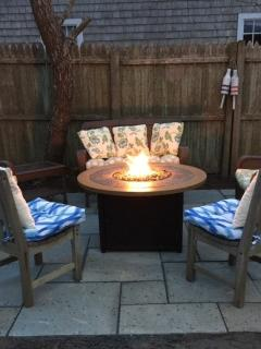 New bluestone patio with propane gas fire pit.