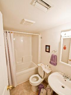 Full bathroom with shower and bathtub