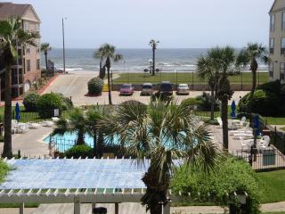 Private balcony overlooks winter heated pool