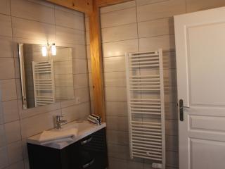 salle de bain lumineuse,tapis de bain,corbeille à linge,serviettes de toilette fournies.