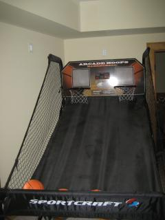 Double basketball in lower level game room.