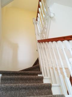 Twisting staircase with carpet runner and hand rail