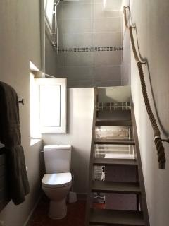 The newly renovated bathroom - a walk-in shower up a few stairs