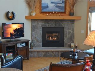 Gas remote controlled fireplace offers warmth and ambiance without fussing with fire wood.